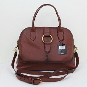 NWT Cognac  Genuine Leather Ring Dome Satchel